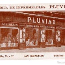 Postales: SAN SEBASTIÁN (GUIPUZCOA).- FABRICA DE IMPERMEABLES PLUVIAX. Lote 116640935