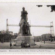 Postales: PORTUGALETE. MONUMENTO A DON VICTOR CHAVARRI Y PUENTE VIZCAYA.. Lote 117706603