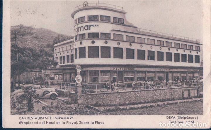 POSTAL DEVA - BAR RESTAURANTE MIRAMAR - SOBRE LA PLAYA - ROISIN - CIRCULADA (Postales - España - Pais Vasco Antigua (hasta 1939))