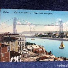 Postales: POSTAL COLOREADA PUENTE DE VIZCAYA BILBAO AÑO 1911 ESCRITA SIN CIRCULAR. Lote 121702863