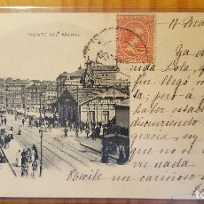 Postales: POSTAL BILBAO PUENTE DEL ARENAL SELLO DEL PELON 1900 LLENO DE GENTE. Lote 122825115
