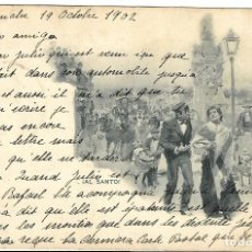 Postales: 1902 POSTAL MADRID CIRCULADA SERIE BLANCO Y NEGRO Nº 425 ¡AL SANTO! HAUSER Y MENET . Lote 123392715