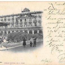 Postales: 1903 POSTAL CIRCULADA BILBAO PLAZA NUEVA. LANDABURU HERMANAS HAUSER Y MENET. Lote 123393027
