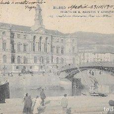 Postales: 1903 POSTAL CIRCULADA BILBAO PUENTE S. AGUSTIN AYUNTAMIENTO. LANDABURU HERMANAS HAUSER Y MENET. Lote 123393235