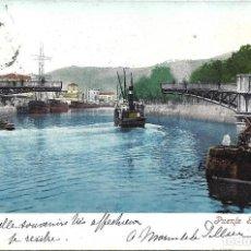 Postales: 1905 POSTAL CIRCULADA BILBAO PUENTE GIRATORIO (PURGER & CO - MUNCHEN). Lote 123396039