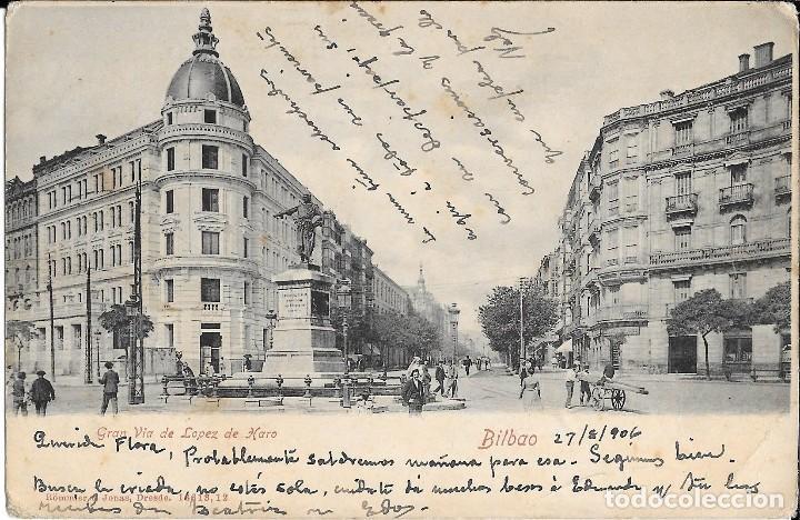 1906 POSTAL CIRCULADA BILBAO GRAN VÍA (RÖMMER & JONAS, DRESDE) (Postales - España - País Vasco Moderna (desde 1940))