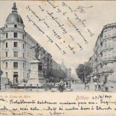 Postales: 1906 POSTAL CIRCULADA BILBAO GRAN VÍA (RÖMMER & JONAS, DRESDE). Lote 123543735