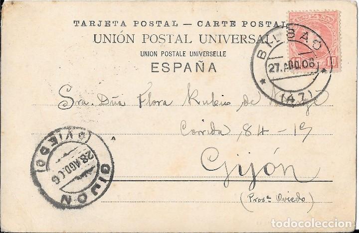 Postales: 1906 POSTAL CIRCULADA BILBAO GRAN VÍA (RÖMMER & JONAS, DRESDE) - Foto 2 - 123543735