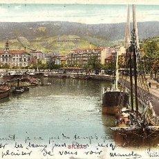 Postales: 1906 POSTAL CIRCULADA BILBAO MUELLE SENDEJA. Lote 123543995