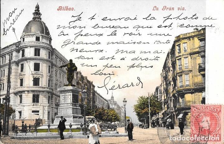 1906 POSTAL BILBAO CIRCULADA LA GRAN VÍA (PURGER & CO, MUNCHEN) (Postales - España - País Vasco Moderna (desde 1940))