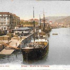 Postales: 1909 POSTAL CIRCULADA BILBAO MUELLE DE URIBITARTE (EDITION PHOTOGLOB, ZÜRUCH). Lote 123546491