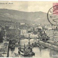 Postales: 1910 POSTAL CIRCULADA BILBAO PUENTE DEL ARENAL. Lote 123547083
