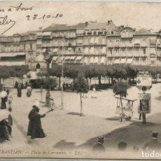 Postales: POSTAL SAN SEBASTIAN PLAZA DE CERVANTES ED. LL N° 102 GUIPUZCOA 1910. Lote 124390451