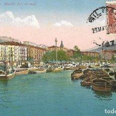 Postales: 1933 POSTAL CIRCULADA BILBAO A BRASIL MUELLE ARENAL. Lote 125071995