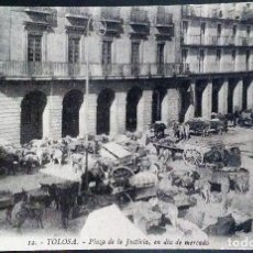 Postales: TOLOSA, GUIPUZCOA,PLAZA DE LA JUSTICIA EN DIA DE MERCADO.. Lote 125955063