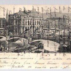 Postales: TARJETA POSTAL BILBAO. PUENTE DEL ARENAL Y TEATRO ARRIAGA. 16621 C12. RÖMMLER & JONAS. AÑO 1904. Lote 126243815