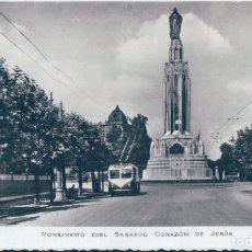 Postais: POSTAL BILBAO MONUMENTO AL SAGRADO CORAZÓN DE JESÚS - TROLEBÚS . Lote 127516339