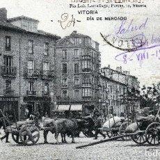 Postales: VITORIA-DIA DE MERCADO FECHADA EL 08-08-1908 MUY EXPECTACULAR Y MUY RARA.. Lote 127524643