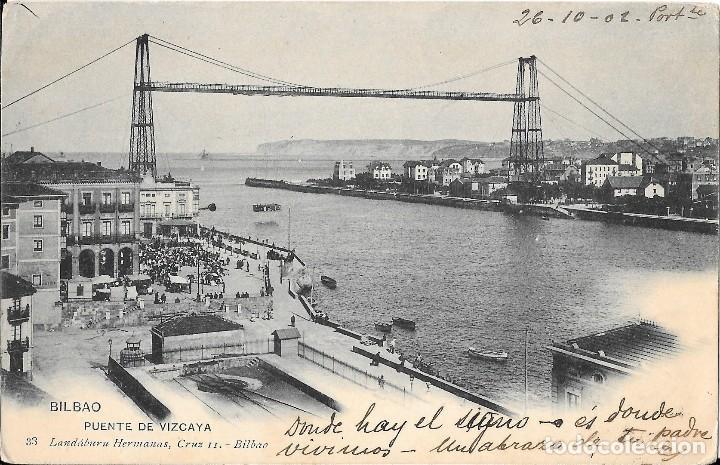 1902 POSTAL CIRCULADA LAS ARENAS - PORTUGALETE PUENTE VIZCAYA LANDABURU HERMANAS - HAUSER Y MENET (Postales - España - País Vasco Moderna (desde 1940))
