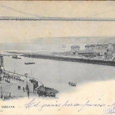 Postales: 1903 POSTAL CIRCULADA LAS ARENAS - PORTUGALETE PUENTE VIZCAYA LANDABURU HERMANAS - HAUSER Y MENET . Lote 127559447