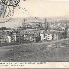 Postales: 1911 POSTAL CIRCULADA PANORAMA PORTUGALETE, LAS ARENAS Y ALGORTA LANDABURU HERMANAS HAUSER Y MENET . Lote 127559579