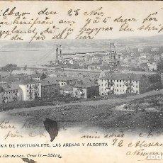 Postales: 1906 POSTAL CIRCULADA PANORAMA PORTUGALETE, LAS ARENAS Y ALGORTA LANDABURU HERMANAS HAUSER Y MENET. Lote 127559631
