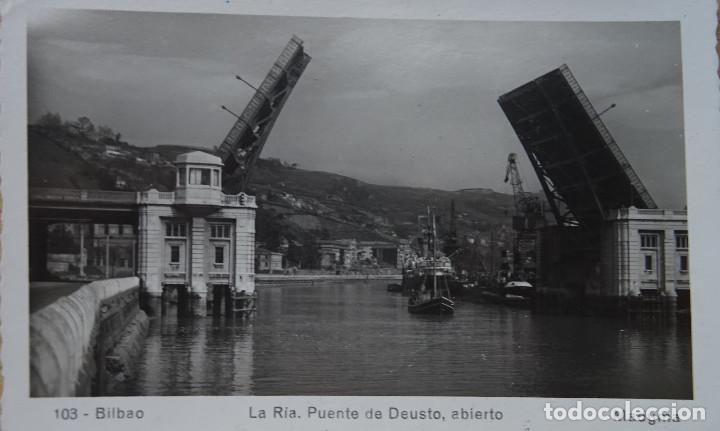 BILBAO - PUENTE DE DEUSTO ABIERTO (Postales - España - País Vasco Moderna (desde 1940))