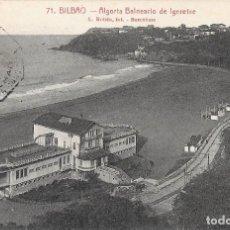 Postales: 1927 POSTAL CIRCULADA BALNEARIO IGERETXE PLAYA DE EREAGA ALGORTA VIZCAYA (ROISSIN). Lote 128056359