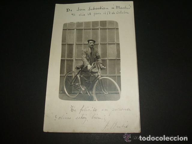 SAN SEBASTIAN RETRATO DE HOMBRE CON BICICLETA 1915 POSTAL FOTOGRAFICA CICLISMO (Postales - España - Pais Vasco Antigua (hasta 1939))