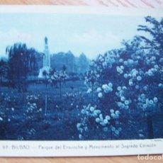 Postales: BILBAO, PARQUE DEL ENSANCHE Y SAGRADO CORAZÓN (AÑO 1936, POSTAL ANTIGUA CIRCULADA). Lote 128325127