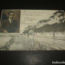 Postales: LAS ARENAS BILBAO PASEO POSTAL CON RETRATO DE ESPERANTISTA ESCRITA EN ESPERANTO POR E ITURBURU 1911. Lote 128932387