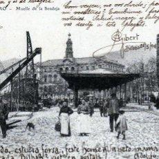 Postales: BILBAO-PRECIOSA POSTAL DEL MUELLE DE LA SENDEJA Y MERCADO CIRCULADA EN 1908 MUY BIEN CONSERVADA.. Lote 128985227