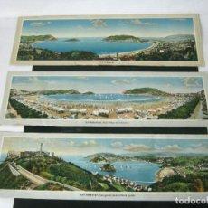 Postales: LOTE 3 VISTAS DE 60 CM - PANORAMICAS SAN SEBASTIAN 1900/20 - FOTO EDITADA PAIS VASCO DONOSTIA. Lote 129974423