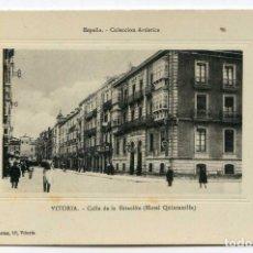 Postales: VITORIA. CALLE DE LA ESTACIÓN HOTEL QUINTANILLA. COLECCIÓN ARTÍSTICA. PIO LUIS LARRAÑAGA. Lote 130259378