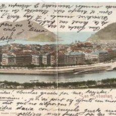 Postales: SAN SEBASTIAN PANORÁMICA ROMMLER & JONAS C. 1903. Lote 130763384