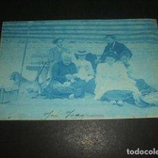 Postales: DEVA GUIPUZCOA POSTAL FOTOGRAFICA CIANOTIPIA 1901 FAMILIA ARGUINZONIZ DE DURANGO EN LA PLAYA. Lote 132542110