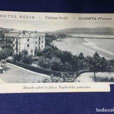 Postales: POSTAL VIZCAYA EUSKADI HOTEL EGUIA ALGORTA SITUADO SOBRE PLAYA ESPLENDIDO PANORAMA. Lote 133723918