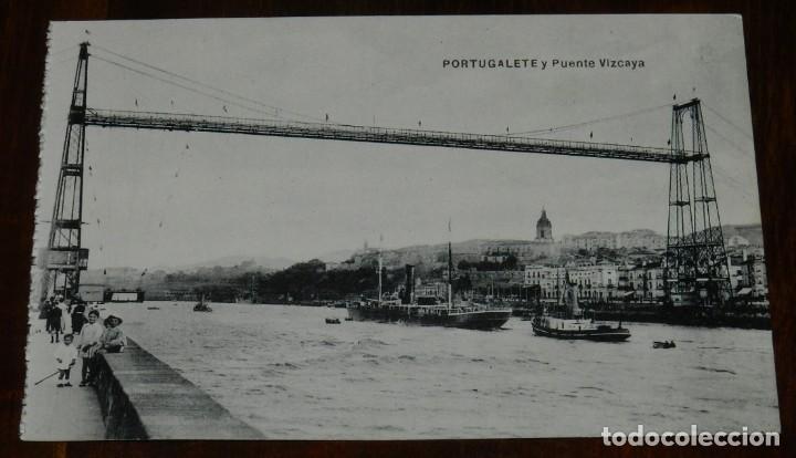 POSTAL DE PORTUGALETE, VIZCAYA, PUENTE VIZCAYA, ED. L.G. NO CIRCULADA. (Postales - España - Pais Vasco Antigua (hasta 1939))