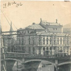 Postales: 1902 POSTAL CIRCULADA BILBAO PUENTE DE ISABEL II Y TEATRO. HAUSER Y MENET. Lote 135065350