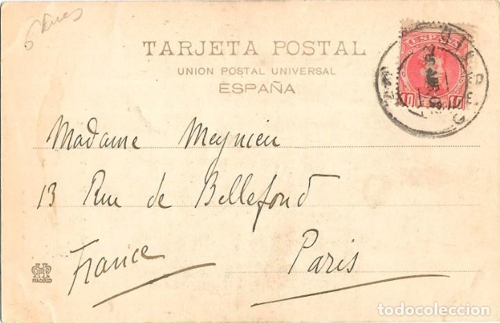 Postales: 1902 POSTAL CIRCULADA BILBAO PUENTE DE ISABEL II Y TEATRO. HAUSER Y MENET - Foto 2 - 135065350