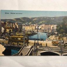 Postales: BILBAO. POSTAL. COLOREADA MUELLES DEL ARENAL. EDITA: LG. BILBAO (H.1950?). Lote 136429640