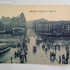 Postales: TARJETA POSTAL BILBAO - PUENTE DE ISABEL II, SIN CIRCULAR. Lote 136516210