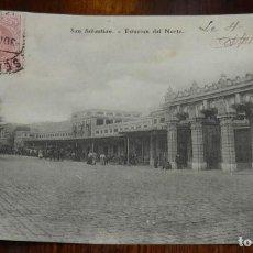 Postales: POSTAL DE SAN SEBASTIAN, ESTACION DEL NORTE, REVERSO DIVIDIDO Y CIRCULADA EN 1906, ED. E.J.G, PARIS.. Lote 138114482