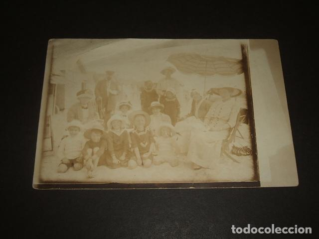 ZARAUZ GUIPUZCOA GRUPO FAMILIAR EN LA PLAYA POSTAL FOTOGRAFICA HACIA 1910 (Postales - España - Pais Vasco Antigua (hasta 1939))