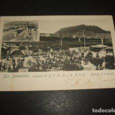 Postales: SAN SEBASTIAN LLEGADA DE S.S. M.M. Y A.A. R.R. BAJADA A LA PLAYA. Lote 138939994