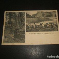 Postales: HERNANI GUIPUZCOA COLEGIO DE SAN IGNACIO EL PUENTE Y EL OCEANO CIRCULADA EN 1918. Lote 139354538