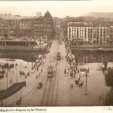 Postales: BILBAO Nº110 PUENTE DE LA VICTORIA L. ROISIN CIRCULADA EN 1950. Lote 142885378