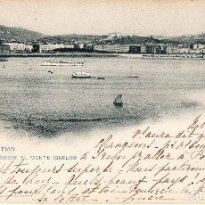 Postales: SAN SEBASTIÁN DONOSTIA POSTAL SELLADA Y RESELLADA 1902 VISTA DESDE EL MONTE IGUELDO EDIT. H.M.. Lote 144429026
