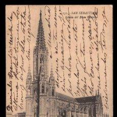 Postales: ANTIGUA POSTAL FOTOGRAFICA 1909 CATEDRAL BUEN PASTOR SAN SEBASTIAN SELLO ALFONSO XIII COLECCIONISMO. Lote 144660698