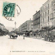 Postais: SAN SEBASTIÁN DONOSTIA POSTAL SELLADA Y RESELLADA AVENIDA DE LA LIVERTAD 1907 EDIT. U.P.U.. Lote 144865858
